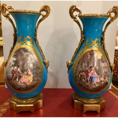Large Pair Of Porcelain Vases In The Style Of Sevres