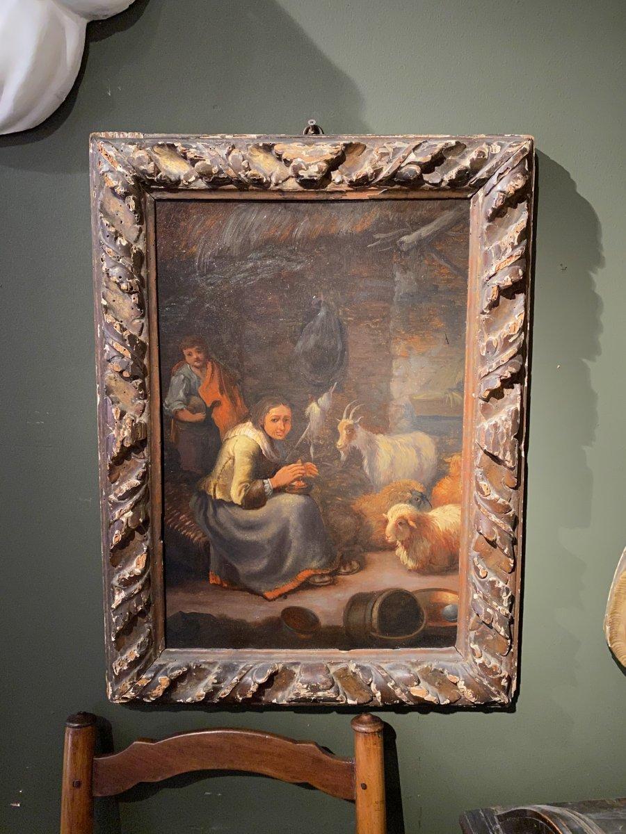 Paire De Tableaux Italiens 18ème Scène Rustique Avec Animaux-photo-2