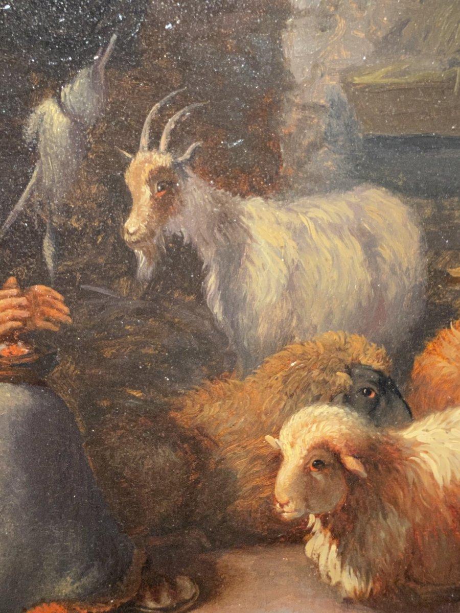 Paire De Tableaux Italiens 18ème Scène Rustique Avec Animaux-photo-1