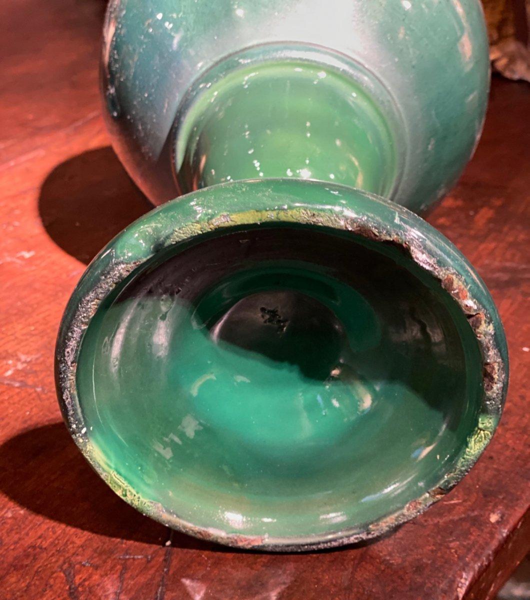 Deux Aiguières En Céramique Verte Début 20ème-photo-4