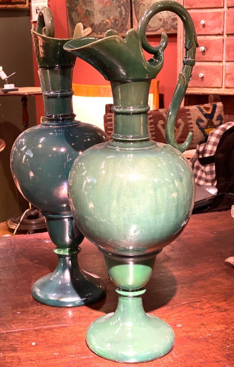 Deux Aiguières En Céramique Verte Début 20ème-photo-3