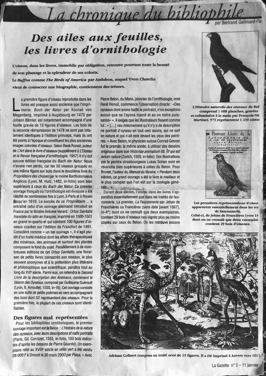 15 Gravures Et Page De Garde Du Traité D'ornithologie D'adriaan Collaert encadrées-photo-5