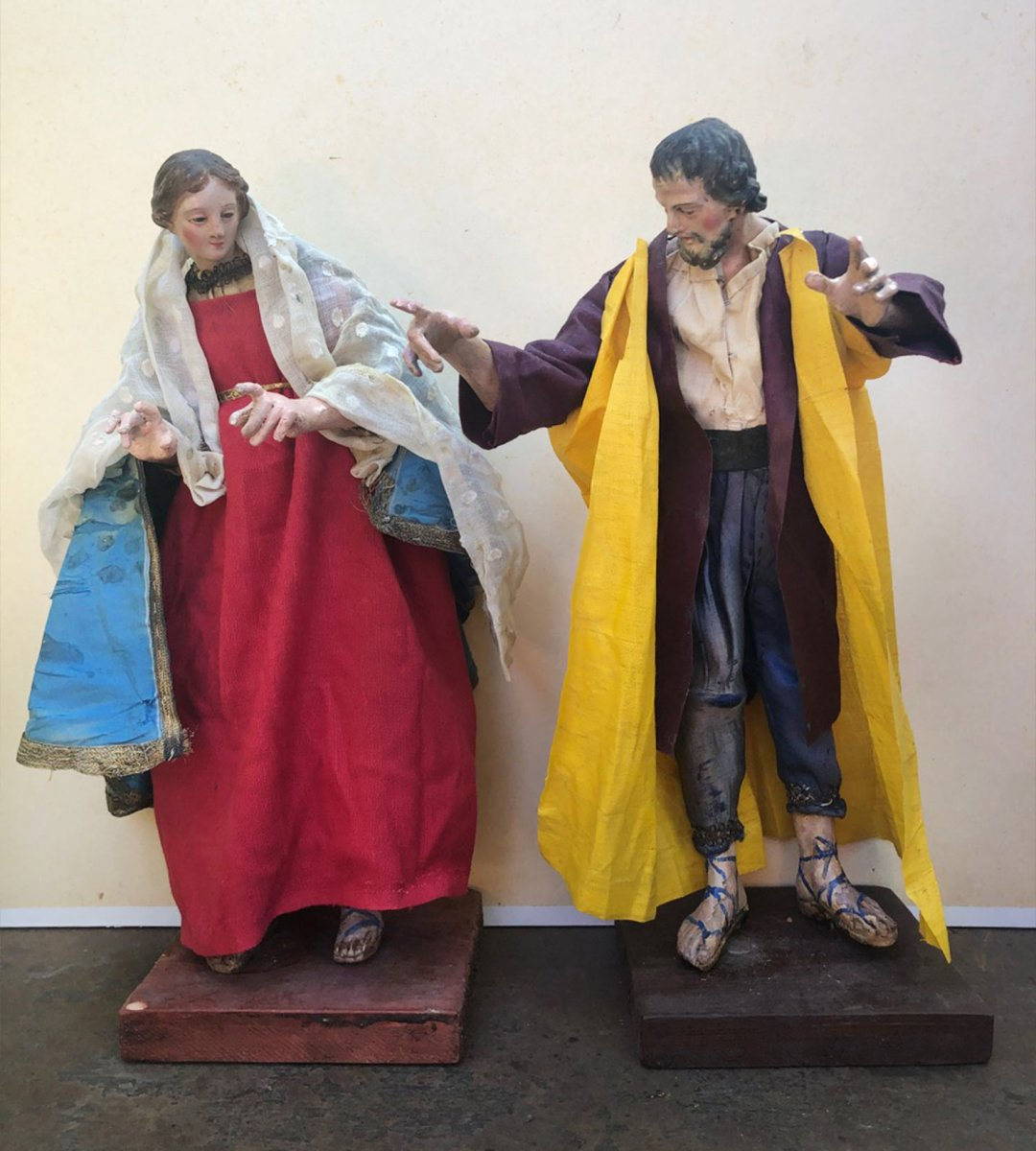 Joseph Et Marie : Couple De Personnages De Crèche Napolitaine, 18eme ,