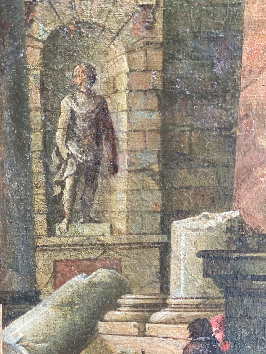 Caprice Architectural Italien, 18ème  Huile Sur Toile à Décors De Temple -photo-3
