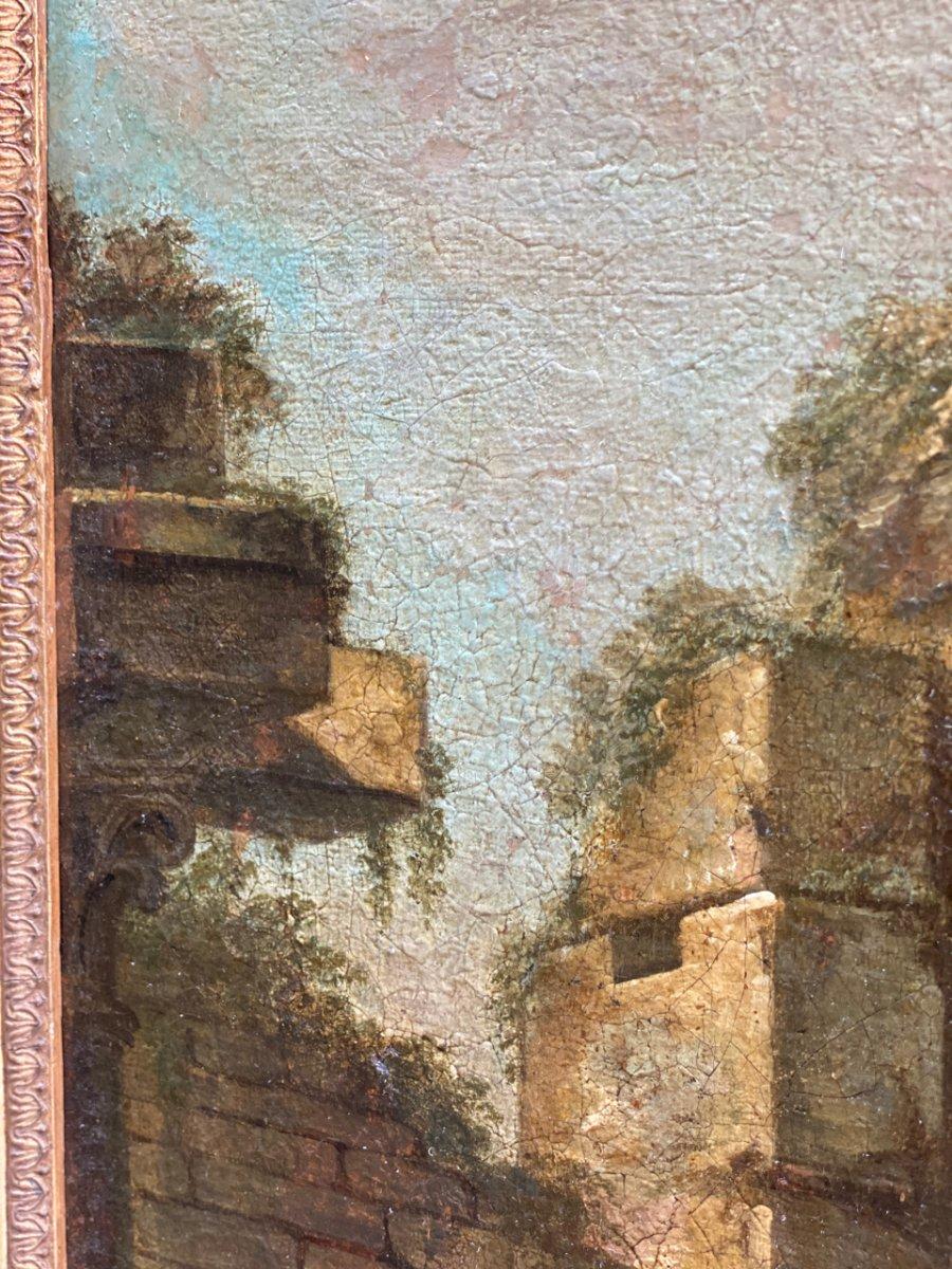 Caprice Architectural Italien, 18ème  Huile Sur Toile à Décors De Temple -photo-4