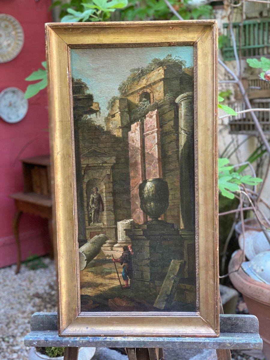 Caprice Architectural Italien, 18ème  Huile Sur Toile à Décors De Temple -photo-6