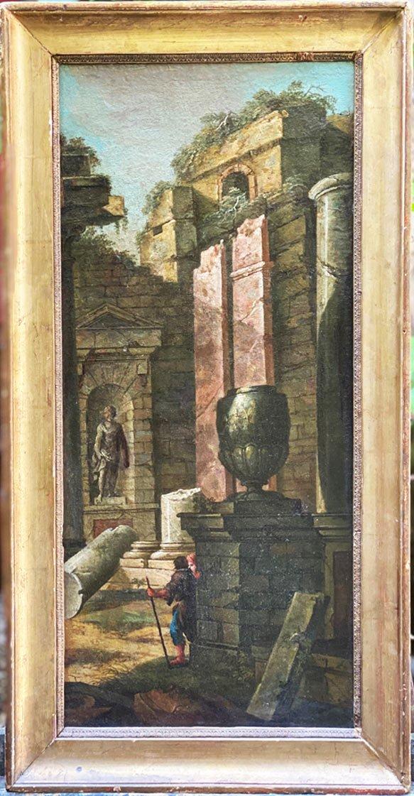 Caprice Architectural Italien, 18ème  Huile Sur Toile à Décors De Temple