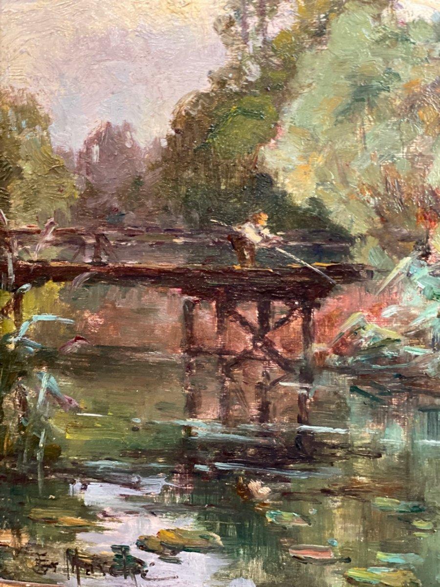 Bord de rivière Huile sur toile post impressionniste 19ème-photo-3