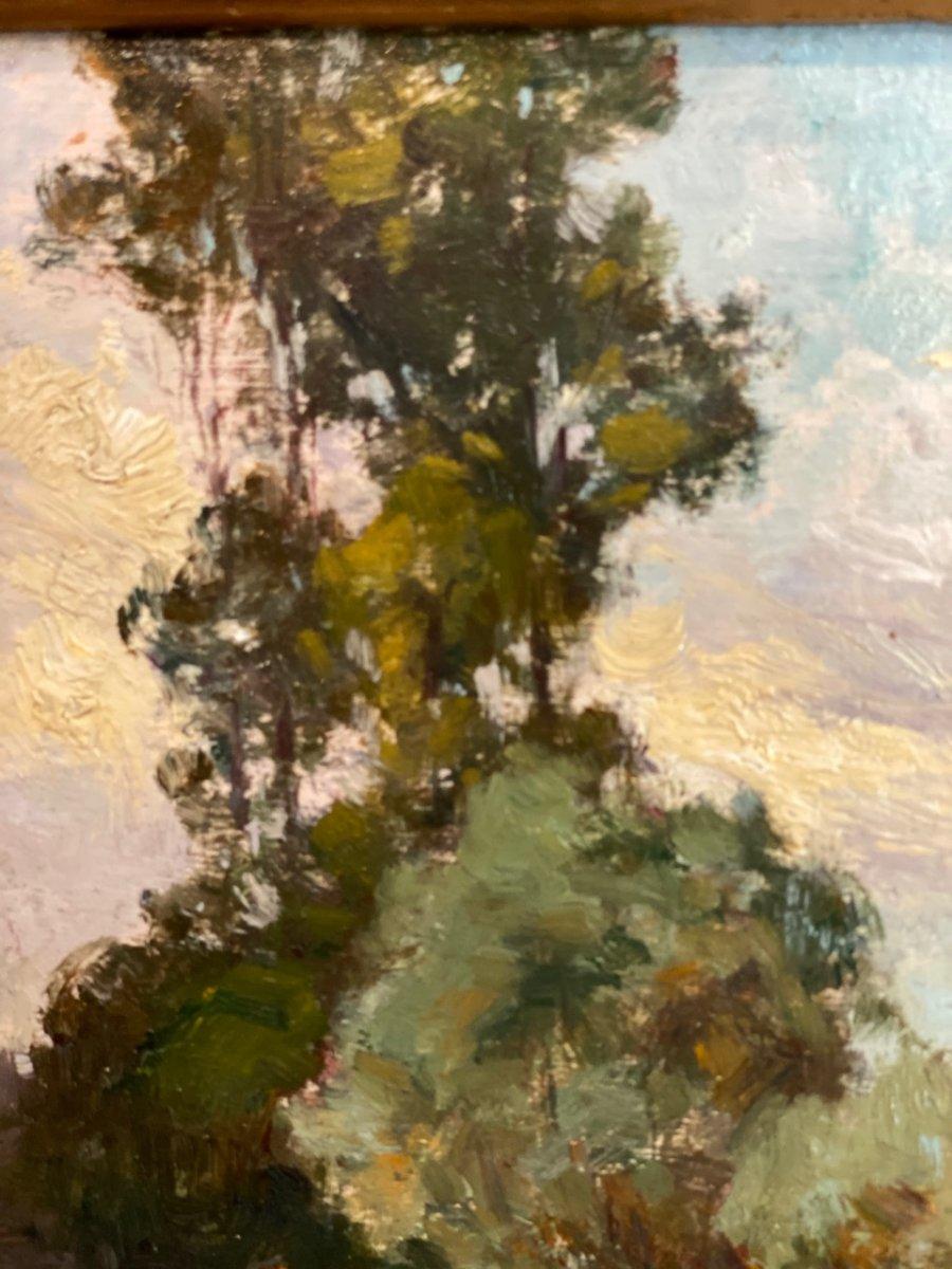 Bord de rivière Huile sur toile post impressionniste 19ème-photo-4