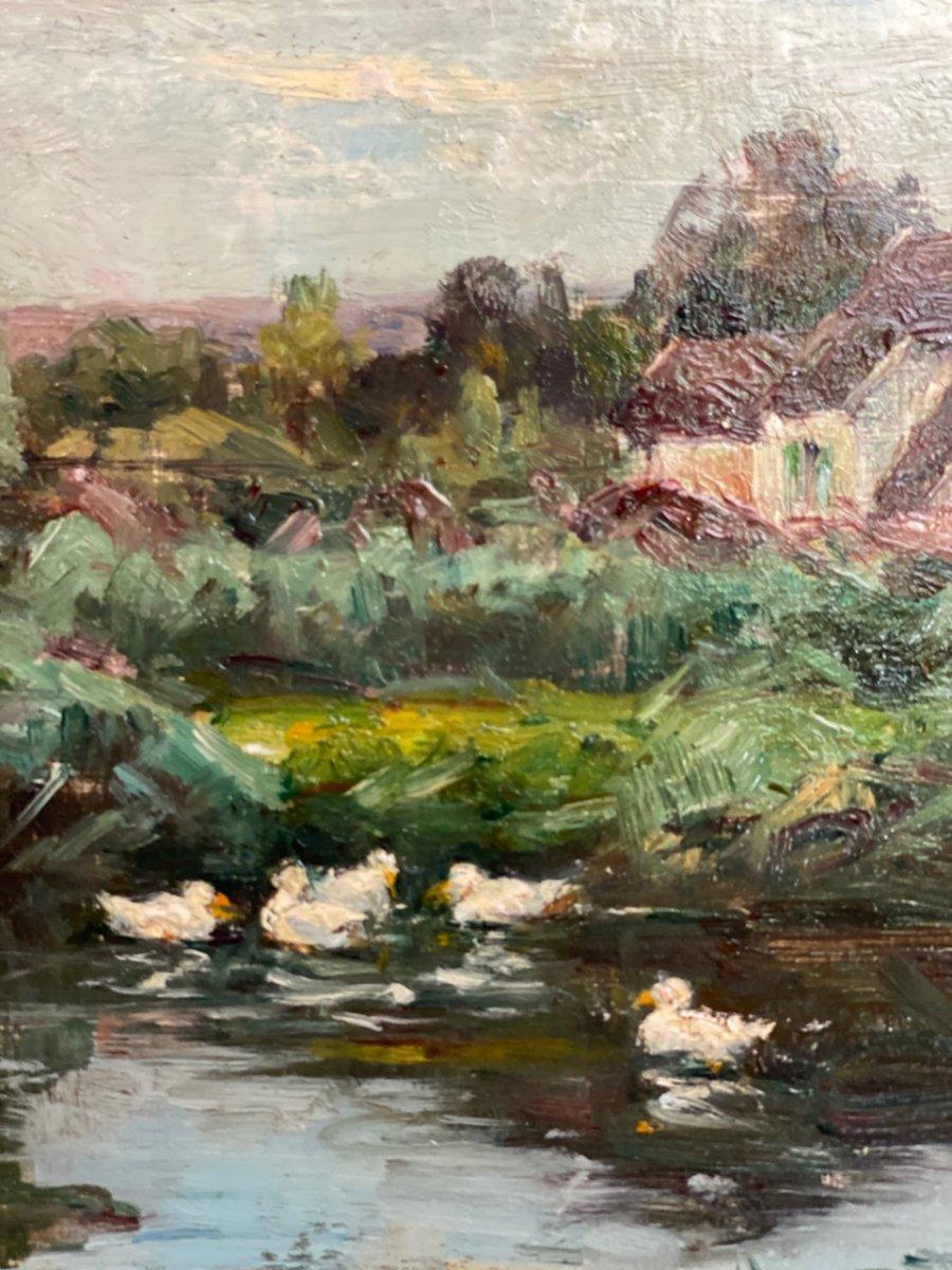 Bord de rivière Huile sur toile post impressionniste 19ème-photo-1
