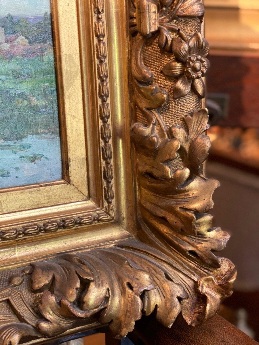 Bord de rivière Huile sur toile post impressionniste 19ème-photo-2
