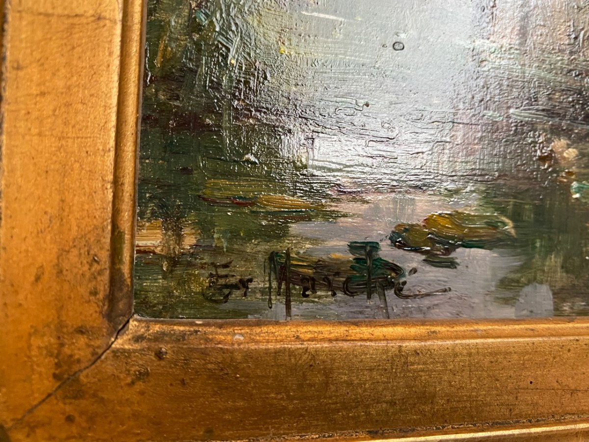 Bord de rivière Huile sur toile post impressionniste 19ème-photo-5