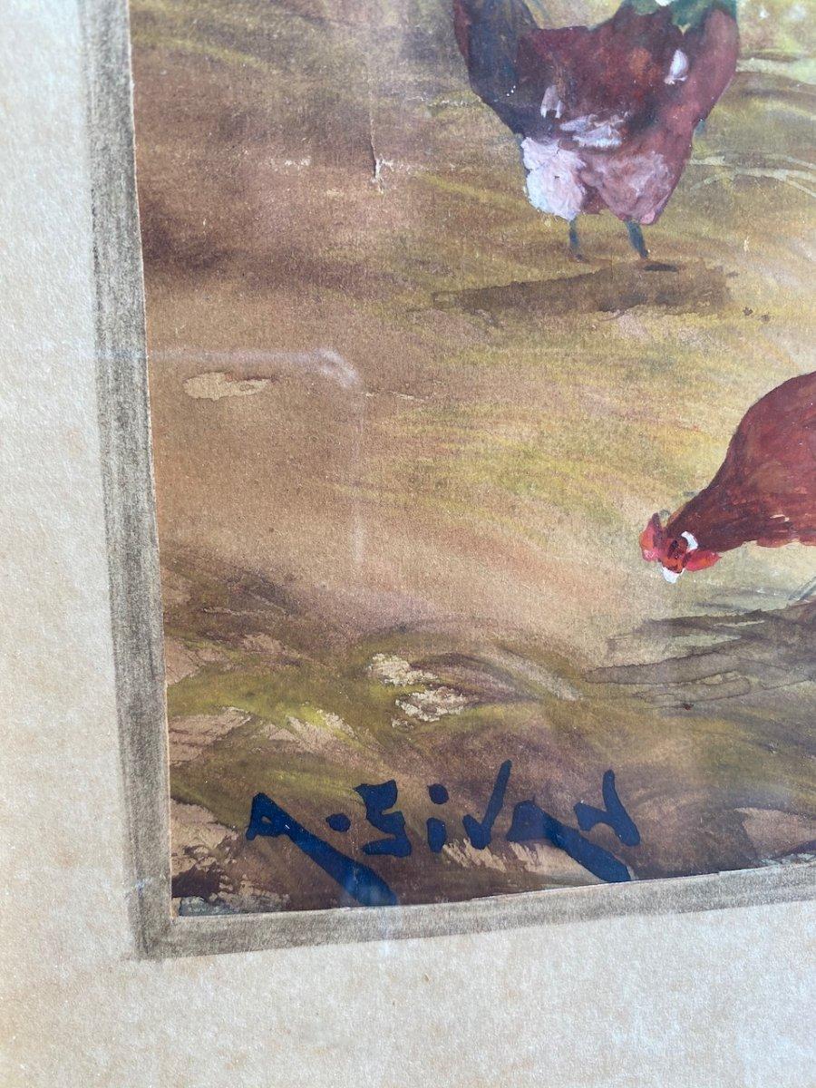 Belle aquarelle sur papier représentant une Cour De Ferme Animée De Volailles, coqs et poules Sur Papier, signée A. Sivan 19ème-photo-5