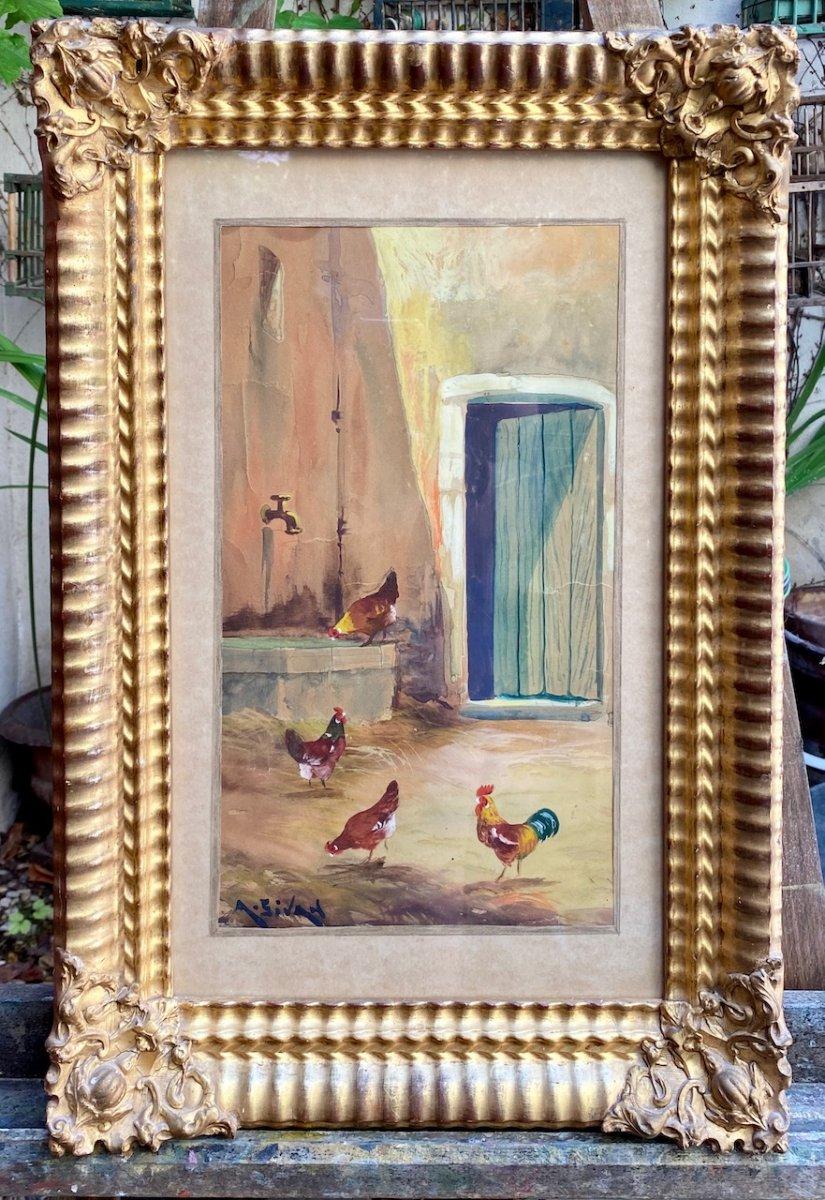 Belle aquarelle sur papier représentant une Cour De Ferme Animée De Volailles, coqs et poules Sur Papier, signée A. Sivan 19ème