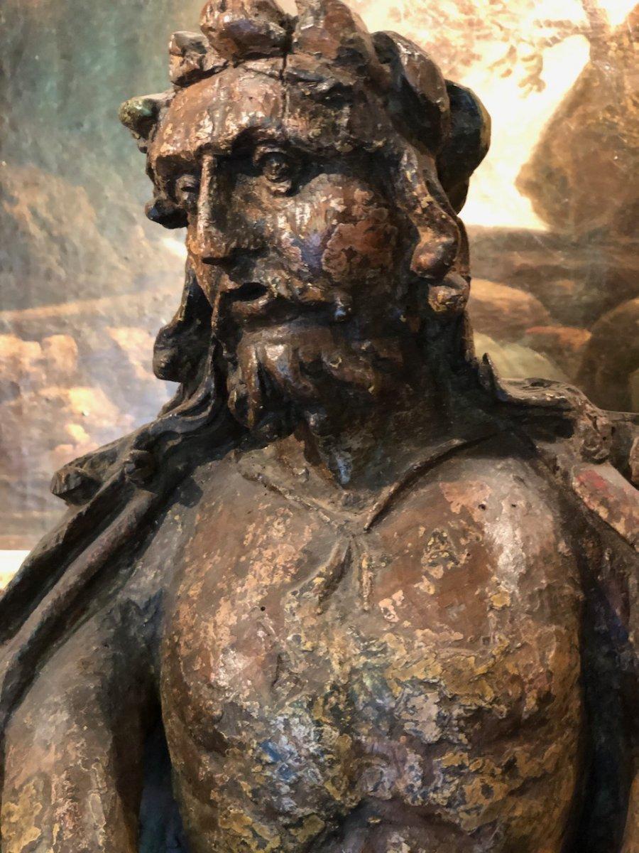 Christ Aux Liens Bois Sculpté Monoxyle 17èmè-photo-4