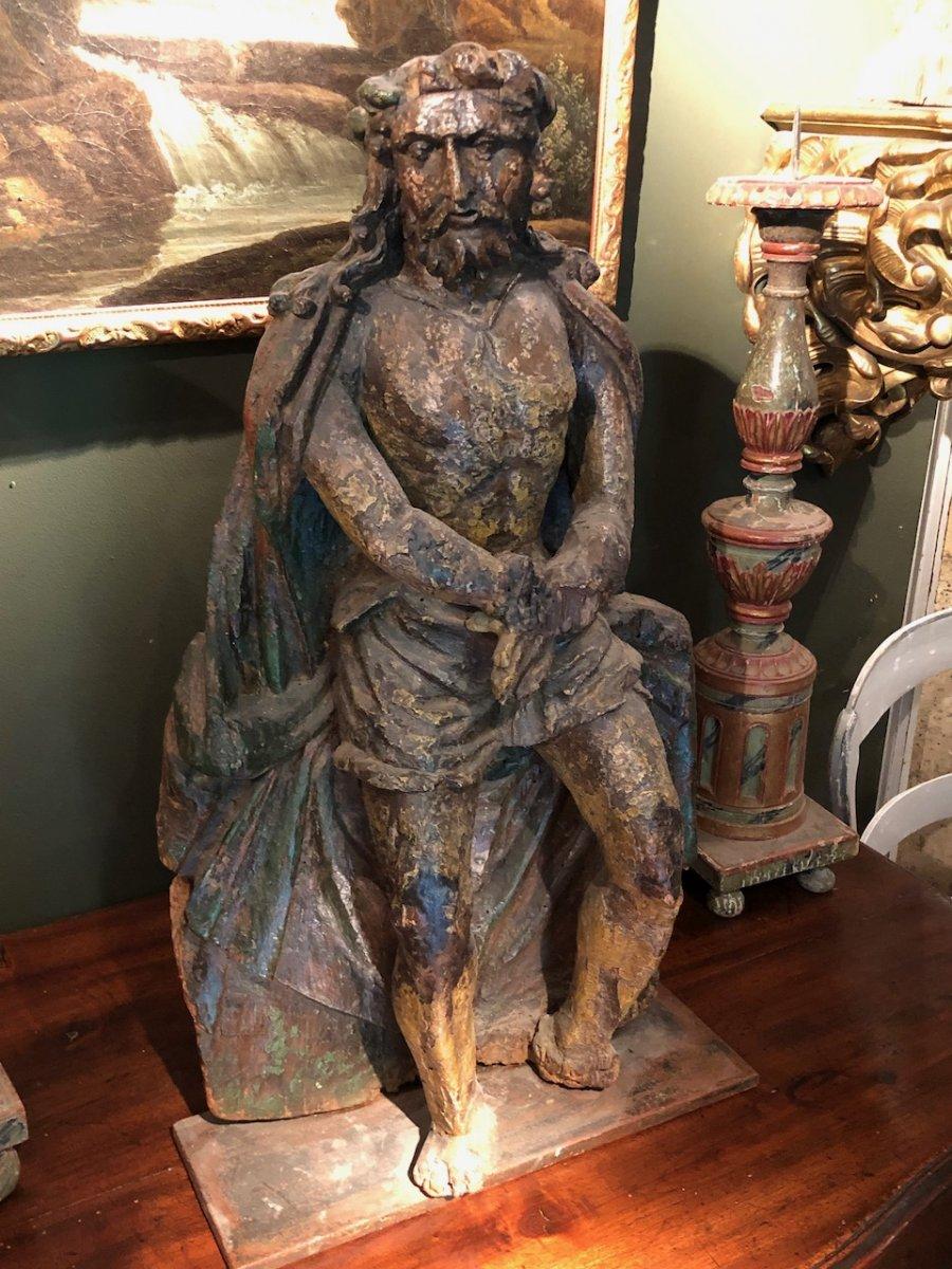 Christ Aux Liens Bois Sculpté Monoxyle 17èmè
