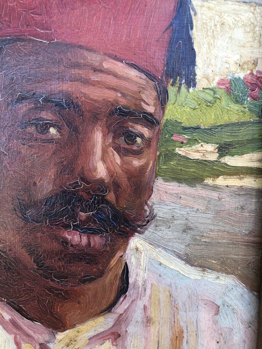 Portrait Orientaliste Huile Sur Carton 19ème -photo-3