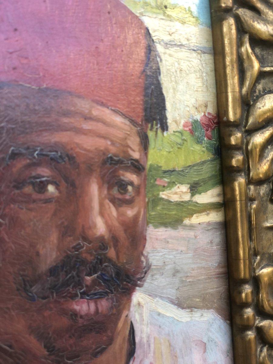 Portrait Orientaliste Huile Sur Carton 19ème -photo-1