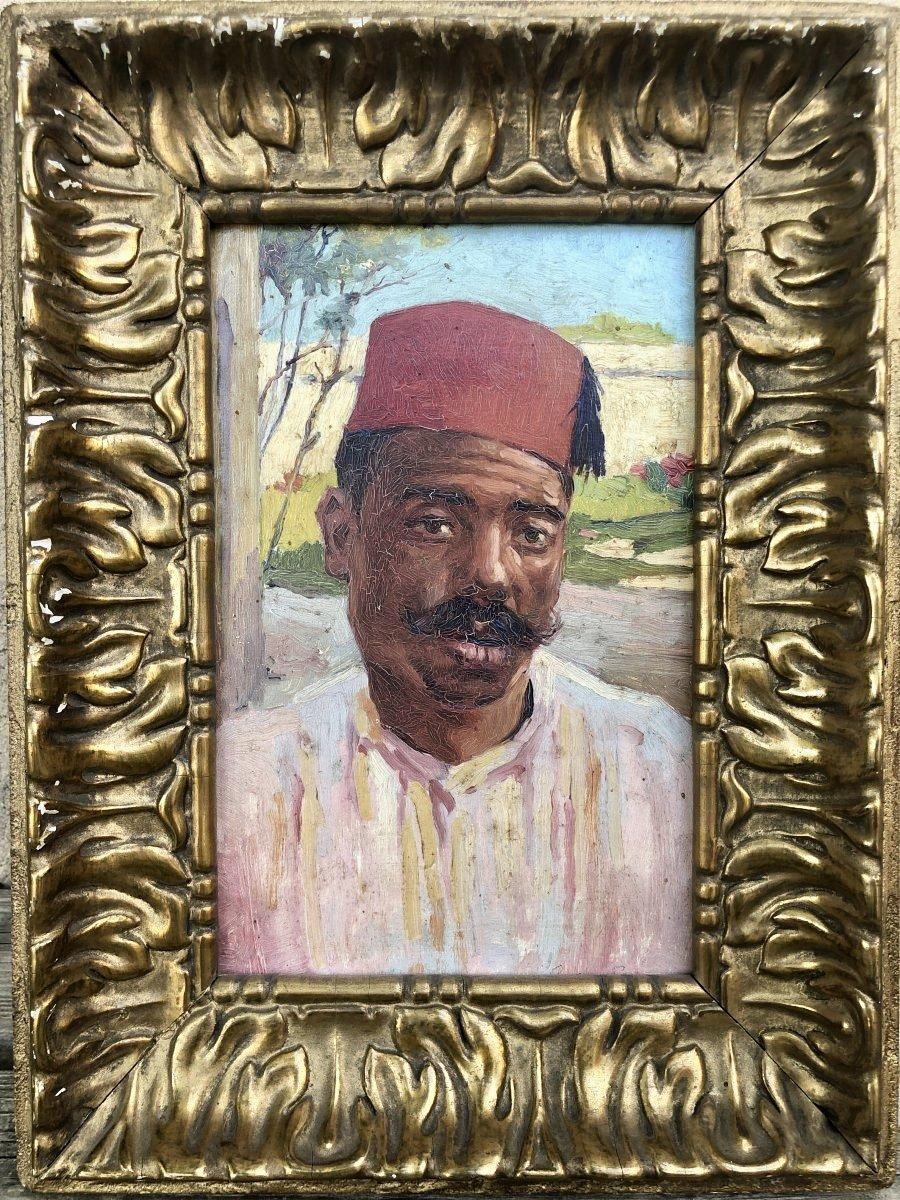 Portrait Orientaliste Huile Sur Carton 19ème
