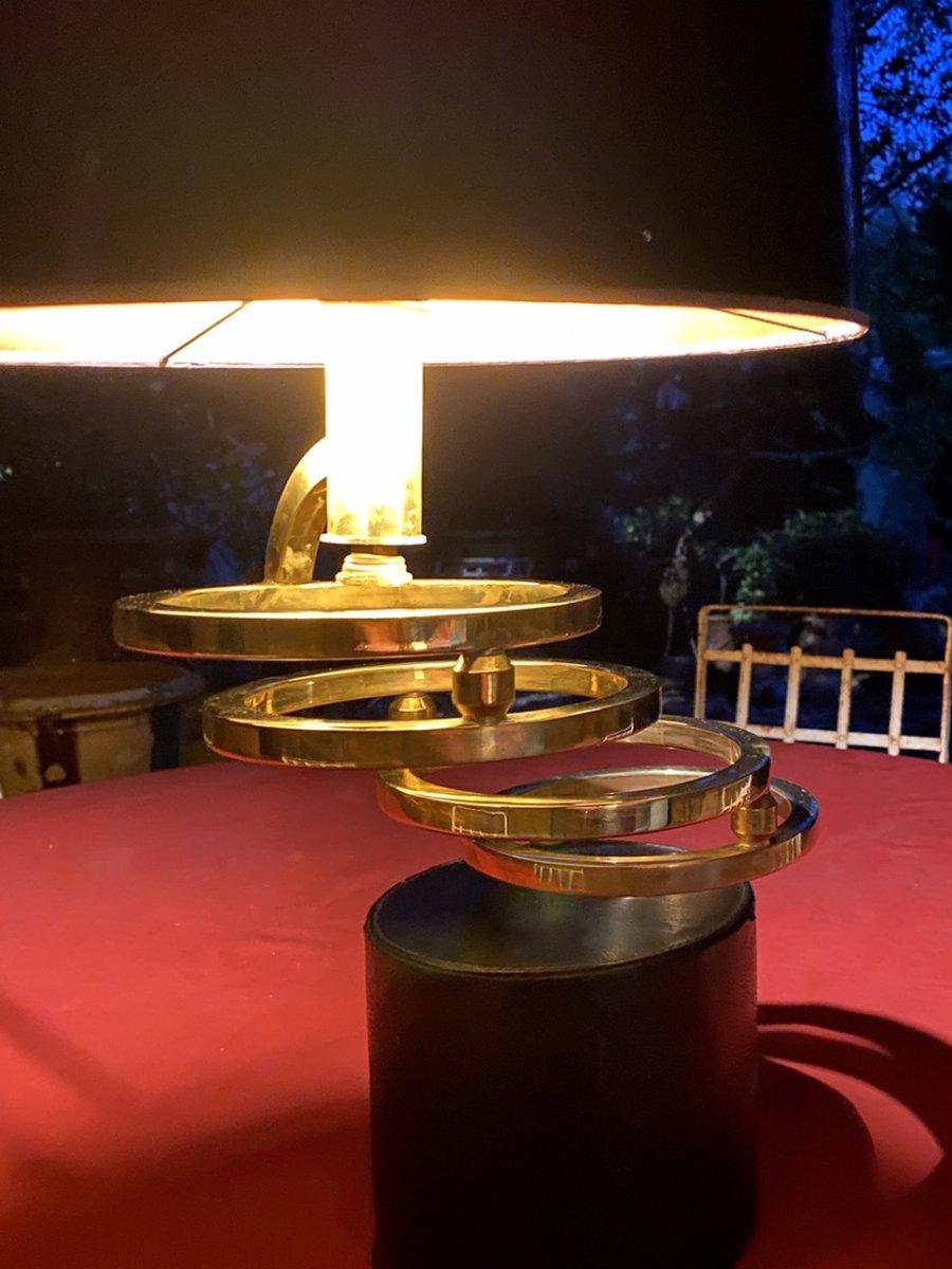 Lampe Design Des Années 70  Sur Un Socle Cuir Noir Avec  Des Anneaux En Laiton Dorés -photo-4