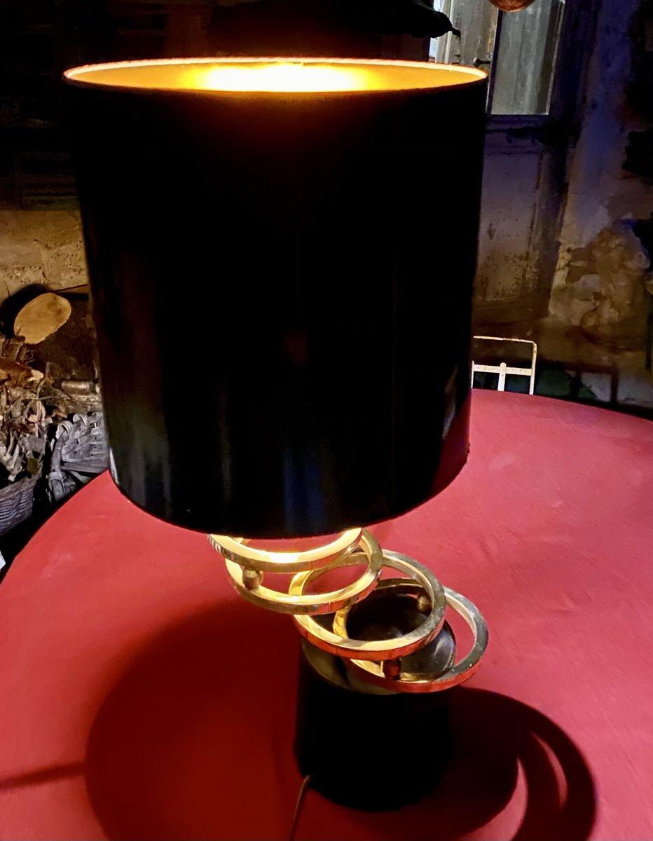Lampe Design Des Années 70  Sur Un Socle Cuir Noir Avec  Des Anneaux En Laiton Dorés -photo-7