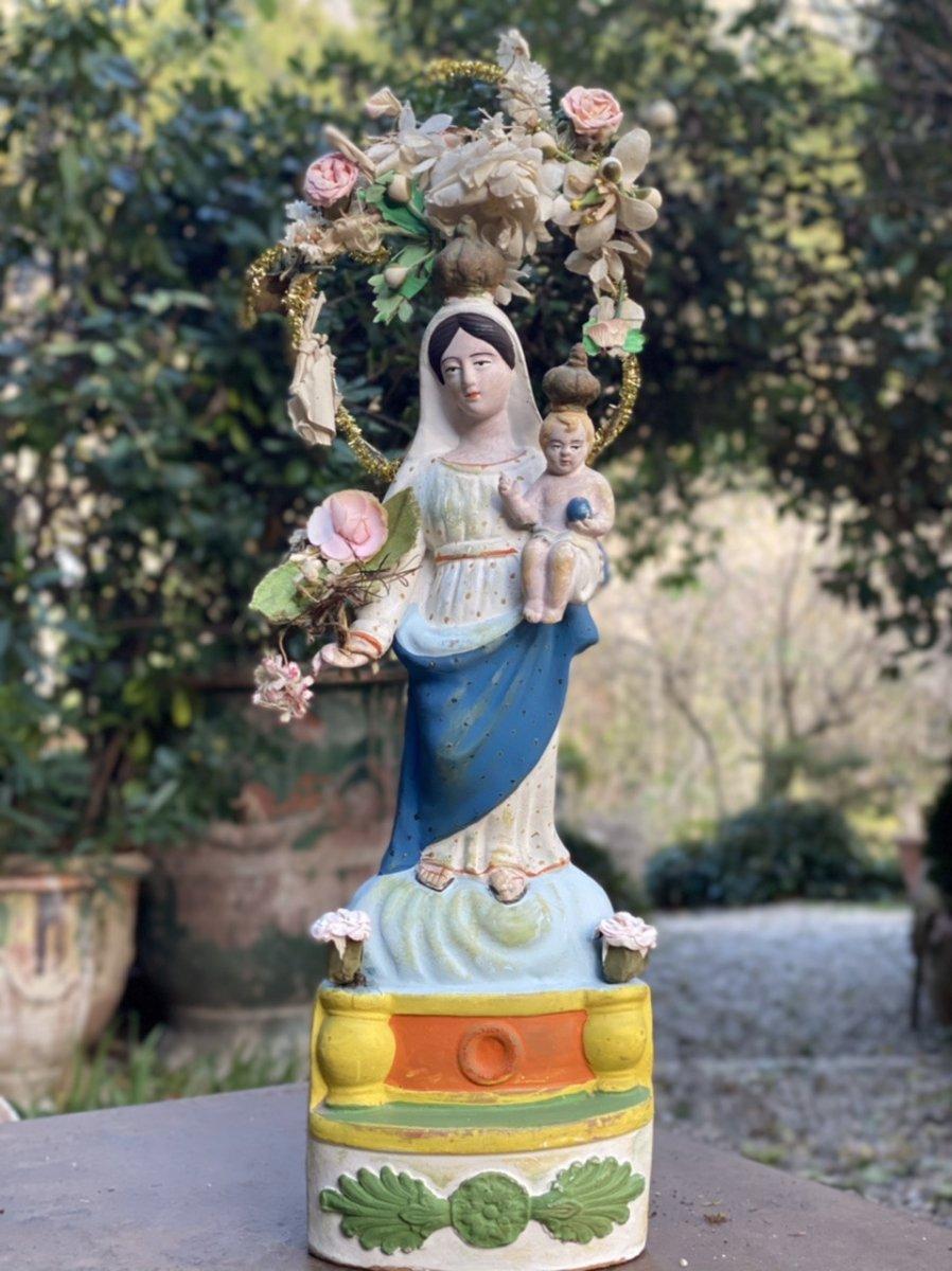 Santibelli polychrome Vierge De Marseille objets d'art religieux Provence 19ème