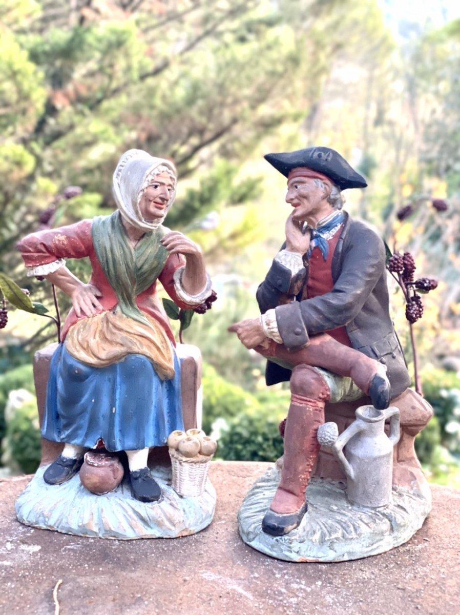 Couple De Provençaux Santibelli Profanes polychrome  ART POPULAIRE De Marseille 19ème