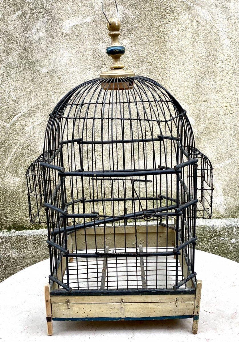 Cage à oiseaux, Perroquet, 19ème En Fer Et Bois art populaire objet de décoration