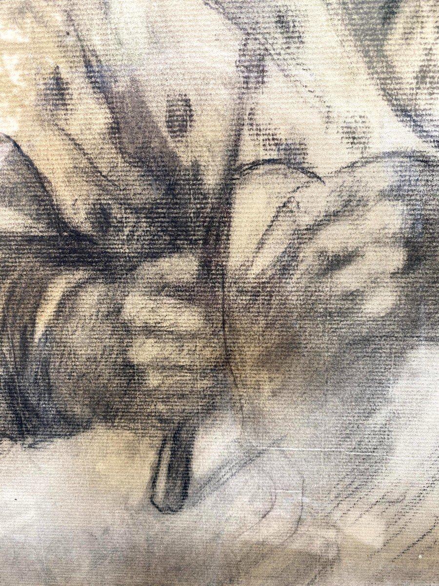 Etude au fusain d'une Comtadine de Georges BREUIL-photo-3