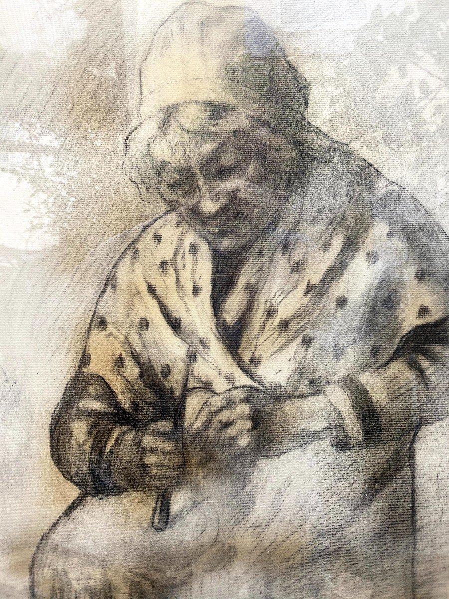 Etude au fusain d'une Comtadine de Georges BREUIL-photo-1