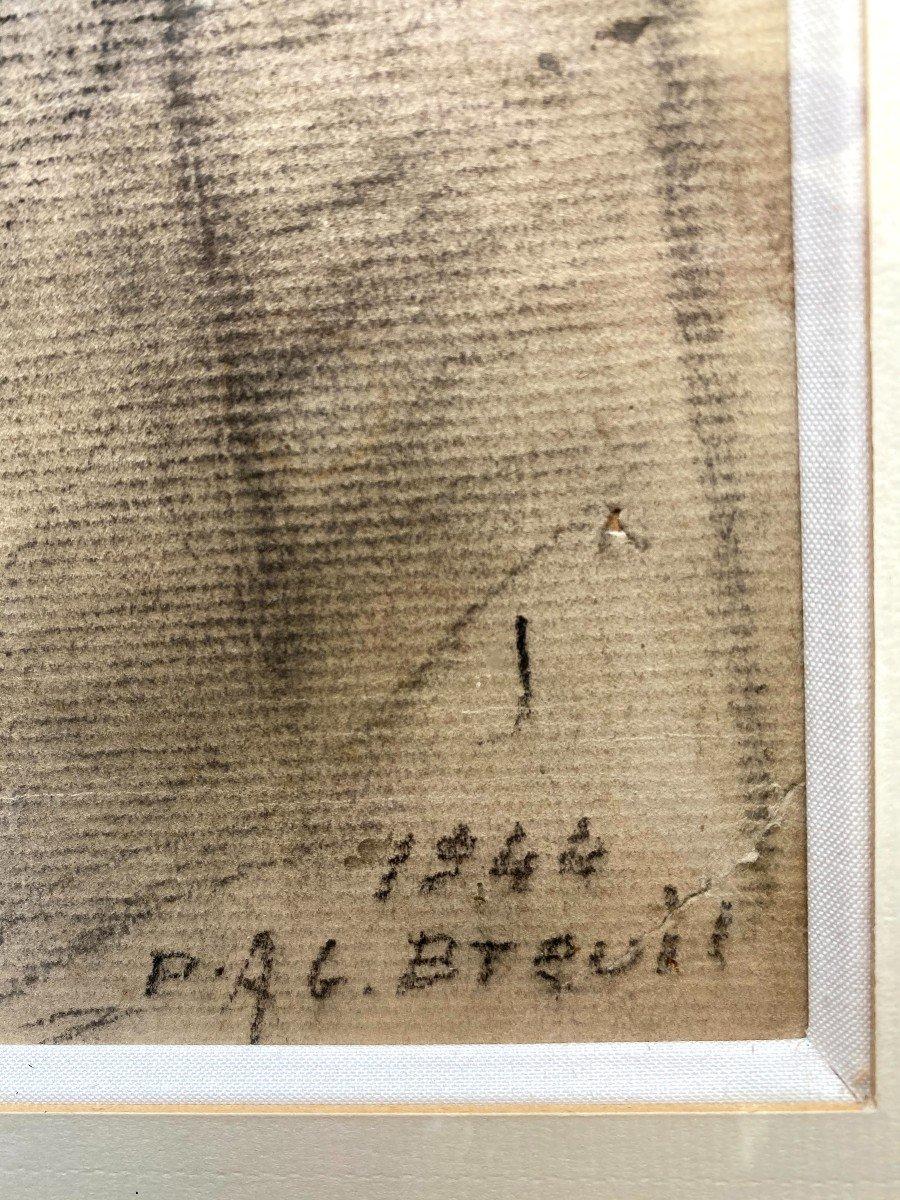 Etude au fusain d'une Comtadine de Georges BREUIL-photo-2