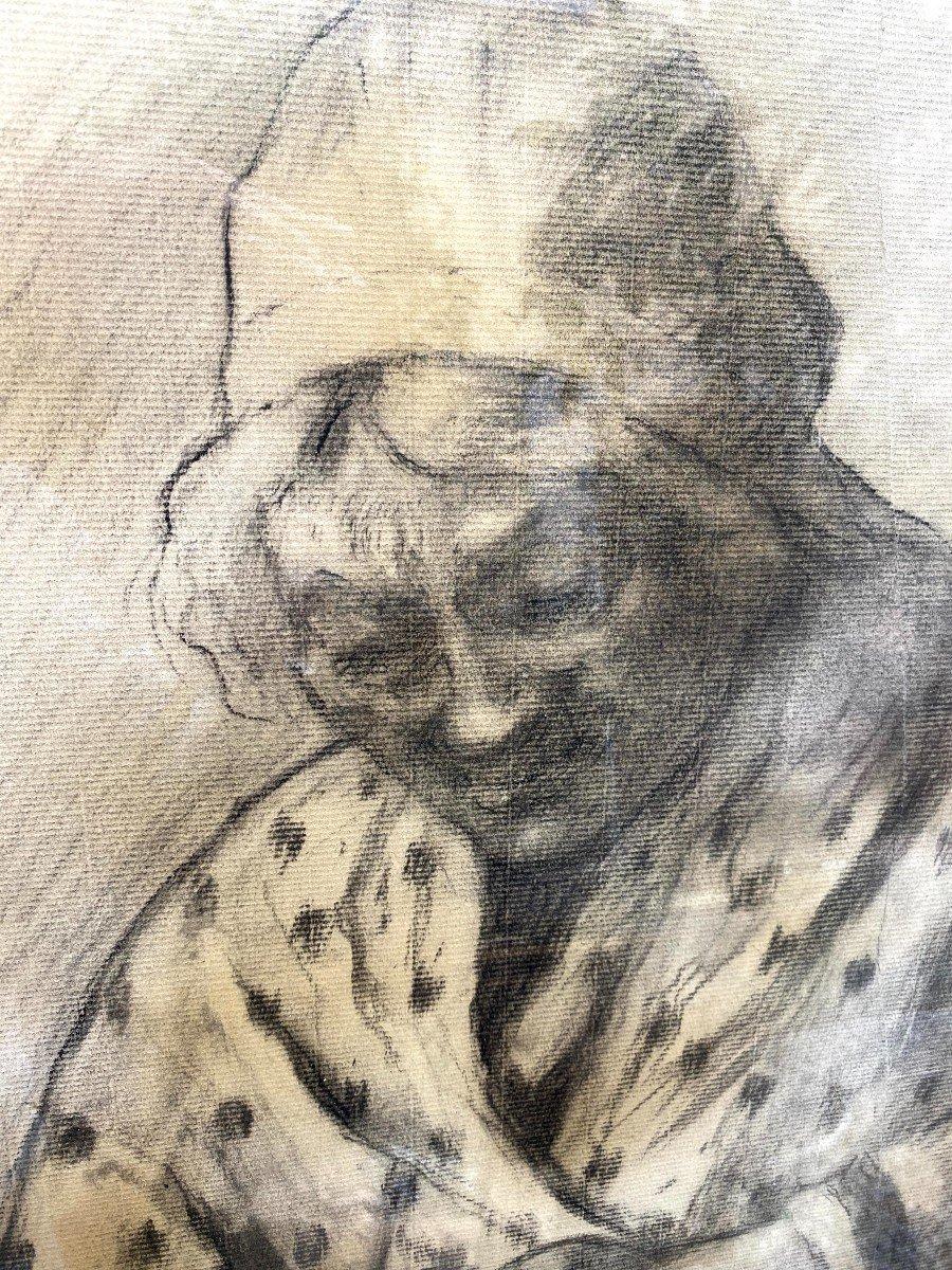 Etude au fusain d'une Comtadine de Georges BREUIL-photo-4