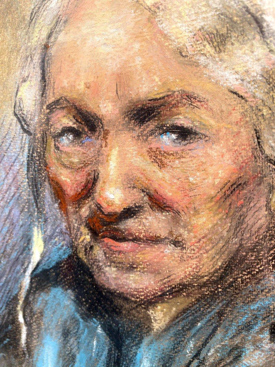 Portrait d'Une Comtadine Par Georges Breuil Dessin Au Fusain Réhaussé De Pastel-photo-3