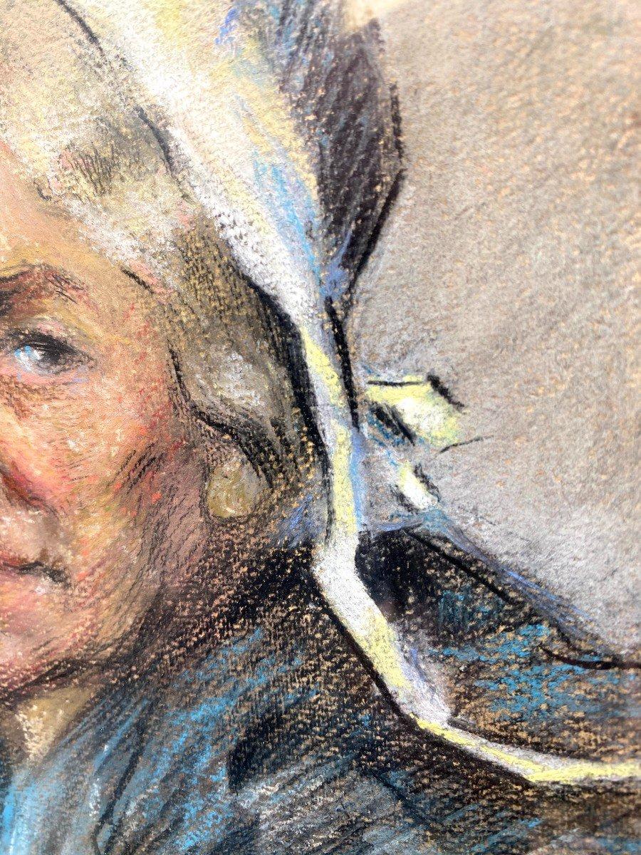 Portrait d'Une Comtadine Par Georges Breuil Dessin Au Fusain Réhaussé De Pastel-photo-4