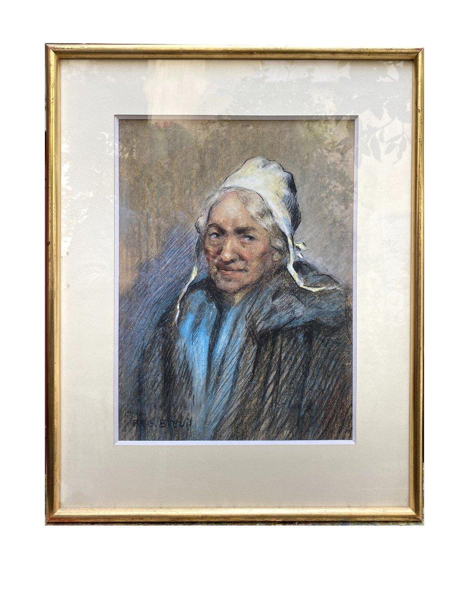 Portrait d'Une Comtadine Par Georges Breuil Dessin Au Fusain Réhaussé De Pastel