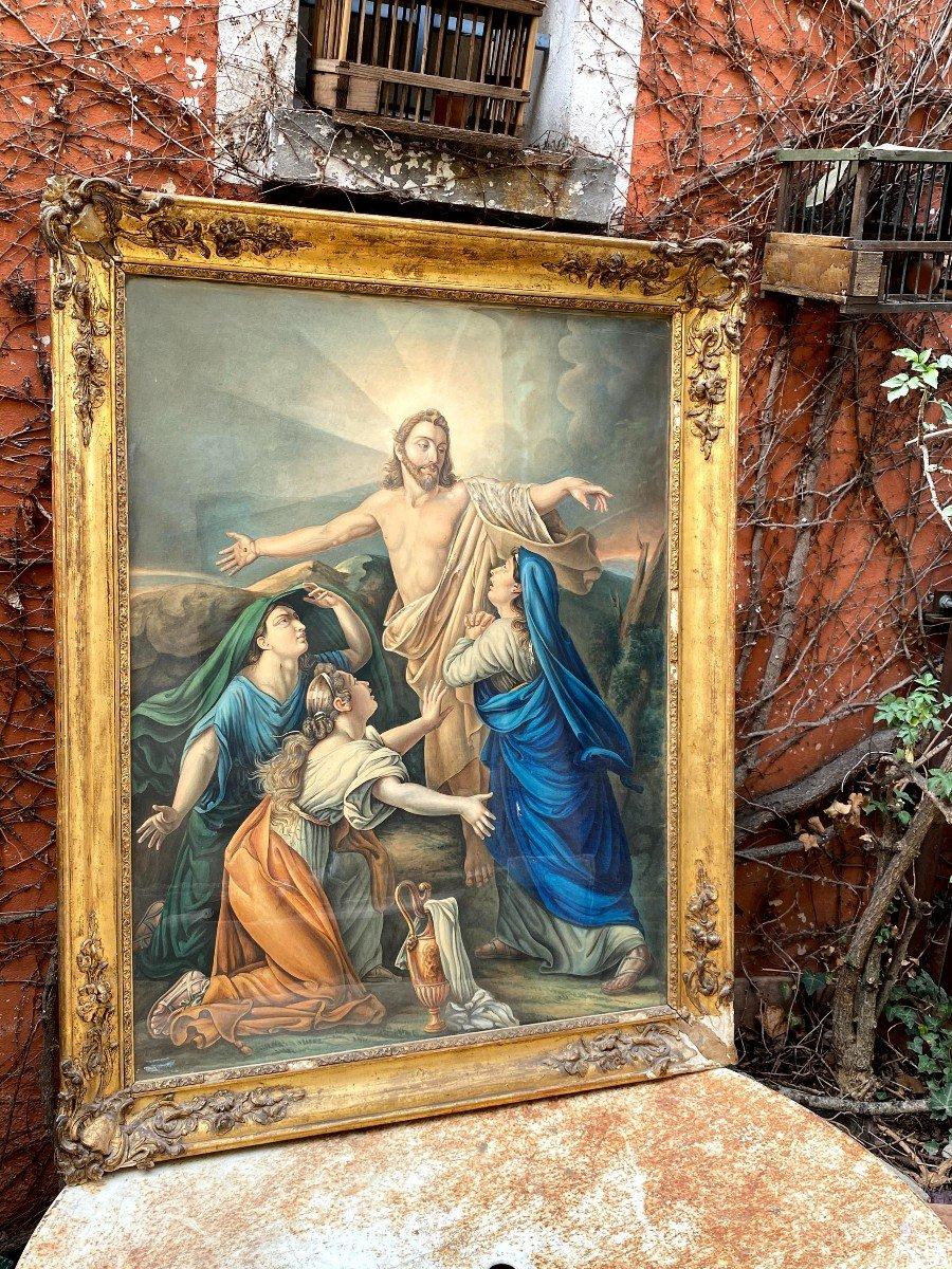 Étude à l'Aquarelle De Guillemot Représentant Le Christ Apparaissant Aux 3 Maries-photo-1