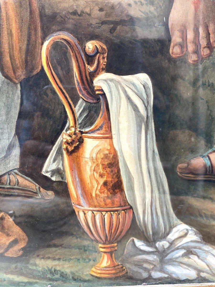 Étude à l'Aquarelle De Guillemot Représentant Le Christ Apparaissant Aux 3 Maries-photo-2