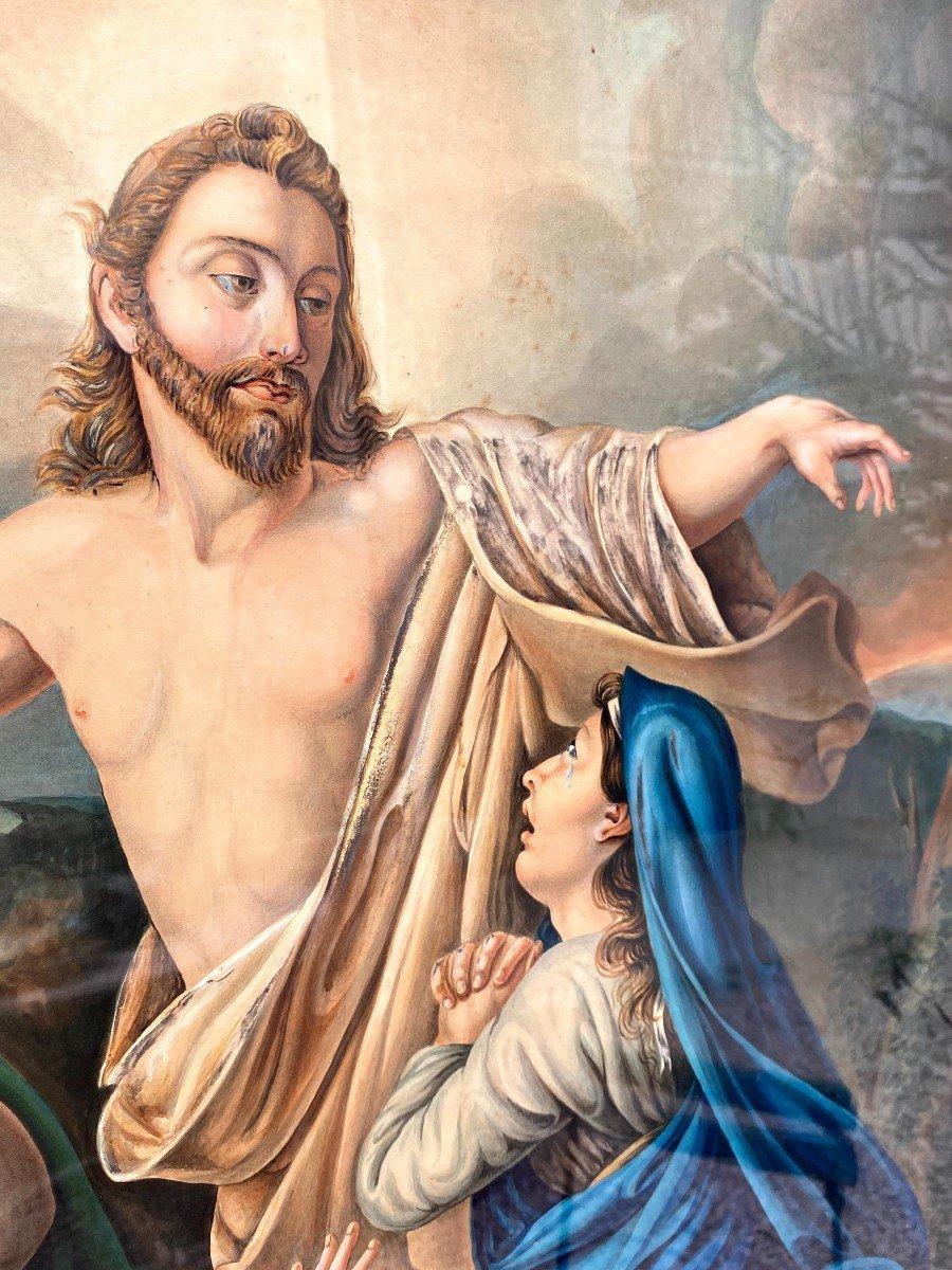 Étude à l'Aquarelle De Guillemot Représentant Le Christ Apparaissant Aux 3 Maries-photo-6