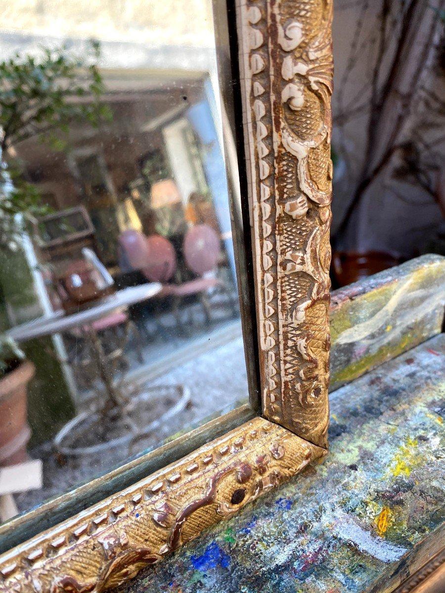 Petit Miroir Bérain 18ème En Bois Doré-photo-3