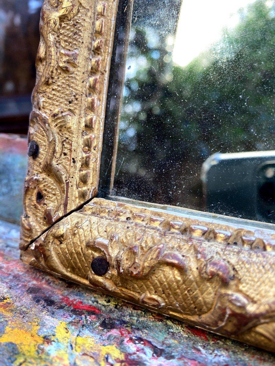 Petit Miroir Bérain 18ème En Bois Doré-photo-4