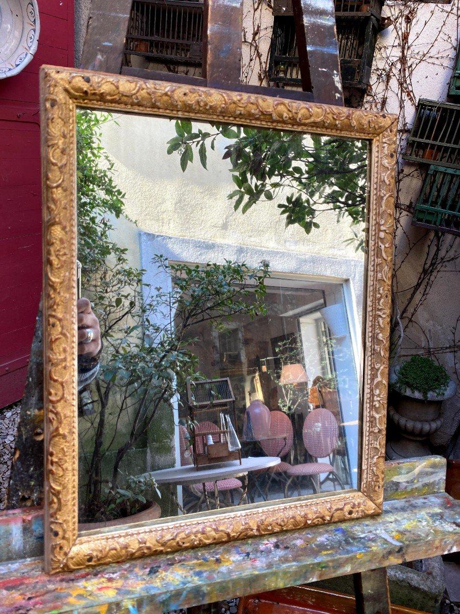 Petit Miroir Bérain 18ème En Bois Doré-photo-1