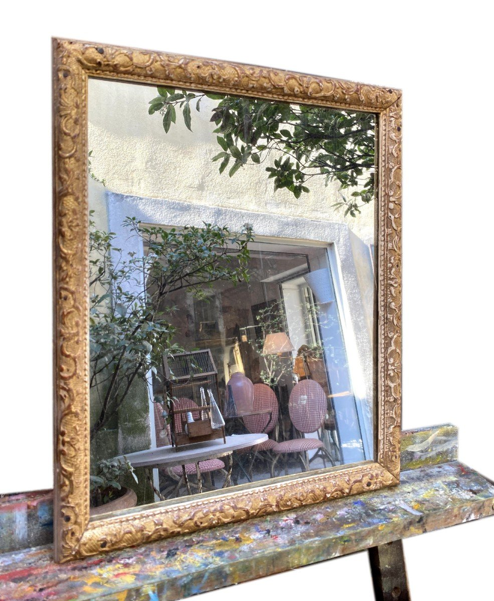 Petit Miroir Bérain 18ième En Bois Doré