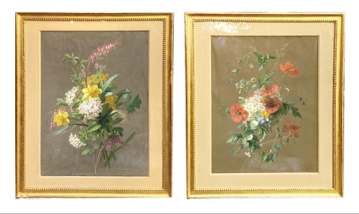 Bouquets De Fleurs Printanières Peintes à La Gouache Par Thérèse Guérin
