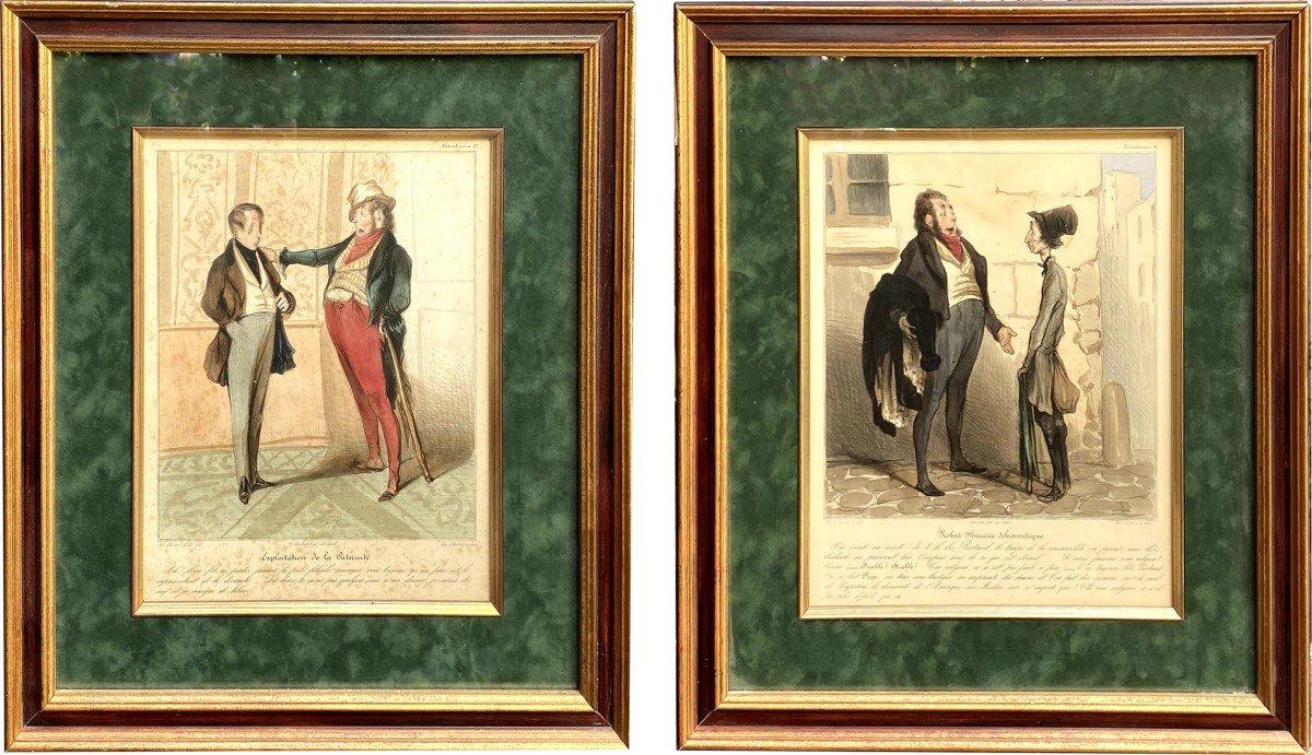 Deux Lithographies De  La Série De Caricaturana De Honoré Daumier