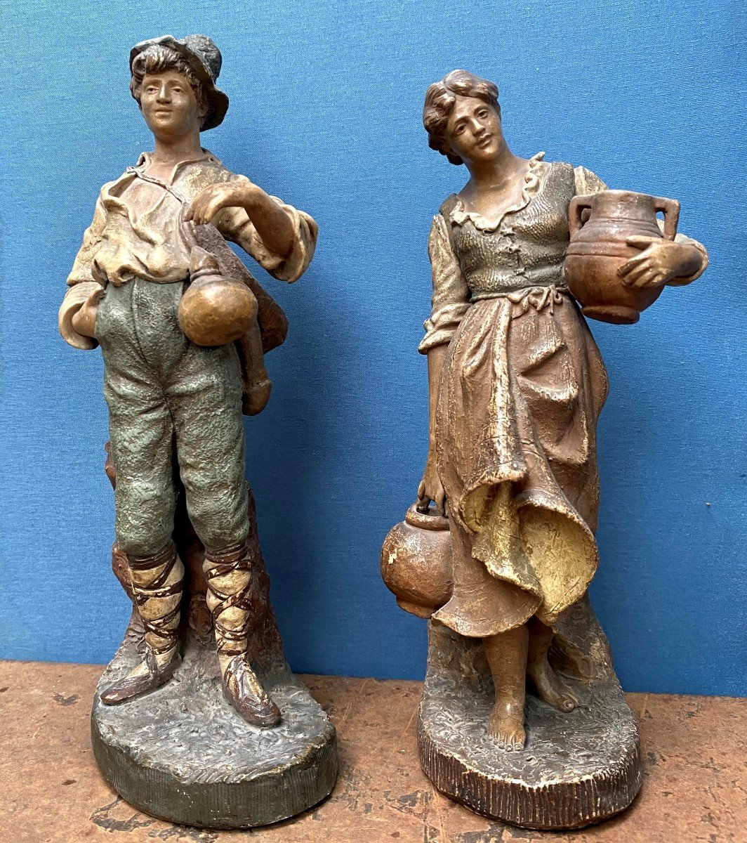 Couple De Statuette De Goldscheider 19ème