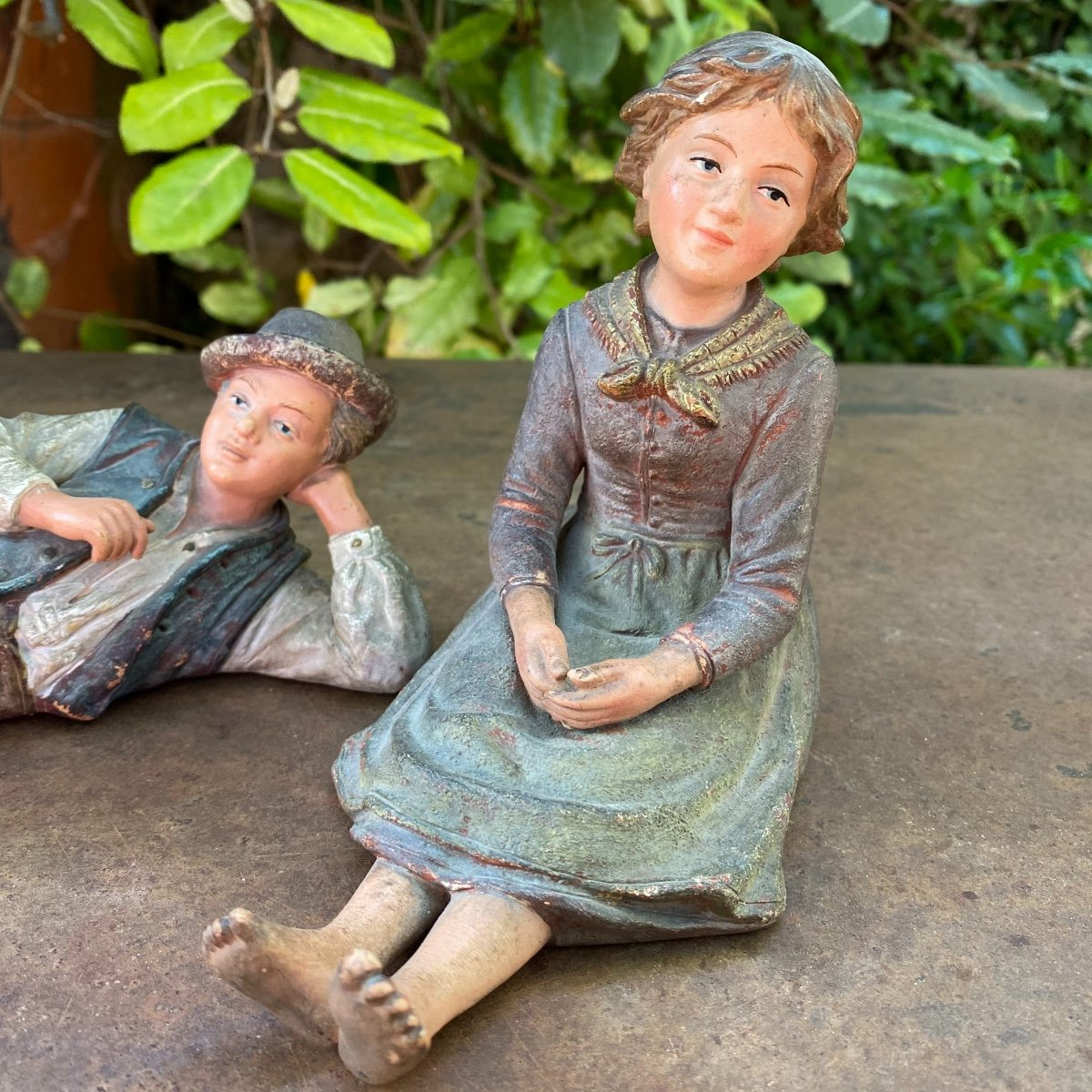 Couple Of Small Peasants In Polychrome Terracotta 19th-photo-2