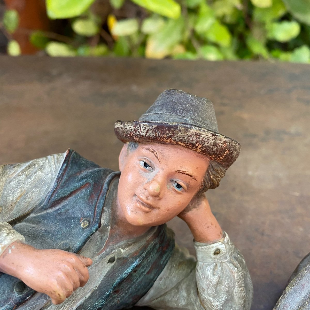Couple Of Small Peasants In Polychrome Terracotta 19th-photo-3
