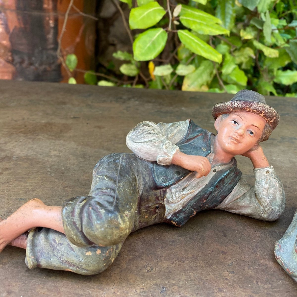 Couple Of Small Peasants In Polychrome Terracotta 19th-photo-4
