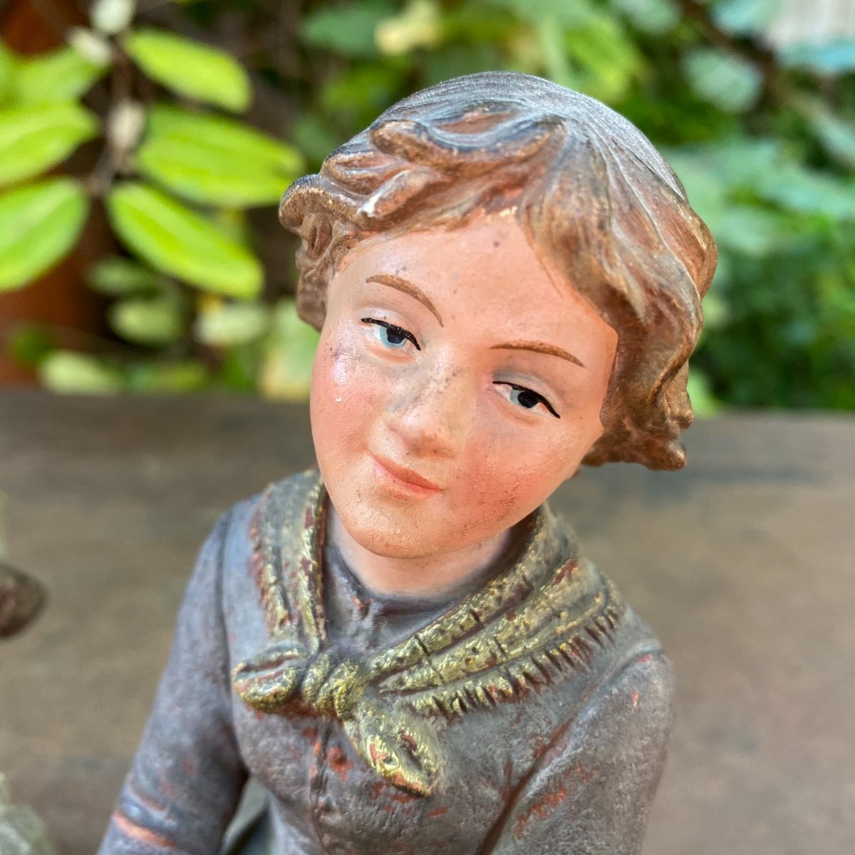 Couple Of Small Peasants In Polychrome Terracotta 19th-photo-1
