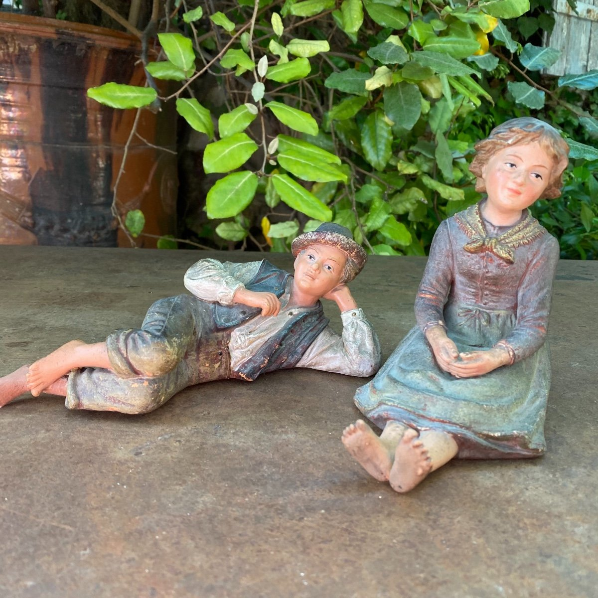 Couple Of Small Peasants In Polychrome Terracotta 19th